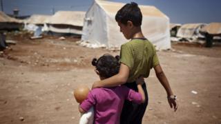 Children at a refugee camp