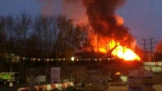 Swindon Skips fire at its height