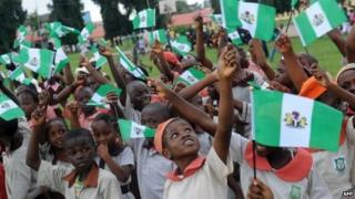 Children celebrating independence day in Nigeria - October 2013