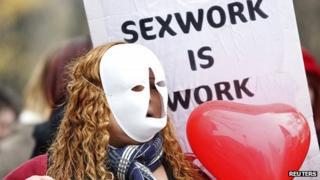 Sex worker activist protests against bill in Paris. 29 Nov 2013