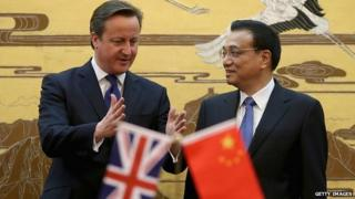 David Cameron with Chinese Premier Li Keqiang in Beijing