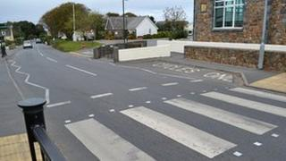 A pedestrian crossing in Guernsey