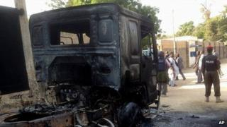 Burned out lorry near air force base in Maiduguri. 2 Dec 2013