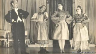 The Queen (centre right) and Princess Margaret (far right) in pantomime in 1943