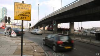 The roundabout at the Bow flyover, east London (file pic)