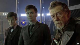 The Doctors Matt Smith (left), David Tennant (centre) and John Hurt (right)) during the 50th anniversary episode of Doctor Who - Day of the Doctor