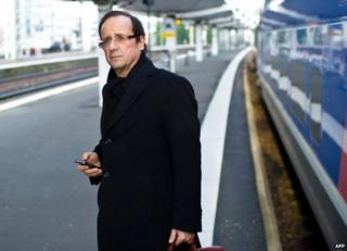 Francois Hollande in Le Mans, France, on 28 February 2011, soon after his prostate treatment