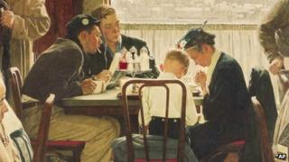"""This undated file photo provided by Sotheby's shows the popular Norman Rockwell masterpiece """"Saying Grace"""""""