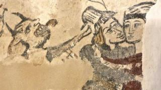 Medieval wall painting of Lust at St Cadoc's Church, Llancarfan