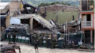 Destroyed police station in Inza, Colombia