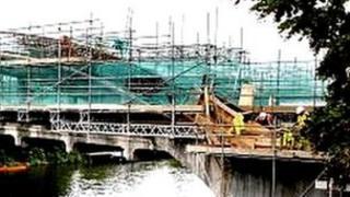 Bridge with scaffolding on