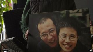 File photo: A picture of Nobel Peace laureate Liu Xiaobo and his wife Liu Xia