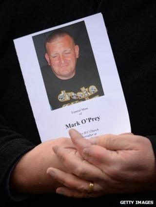 Order of service for Mar O'Prey's funeral