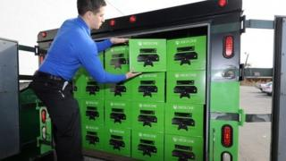 Xbox One consoles being unloaded