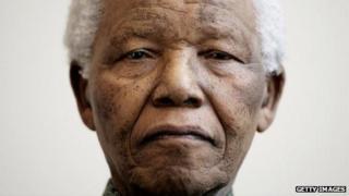 A photographic portrait of Nelson Mandela taken in Norway on June 11, 2005.
