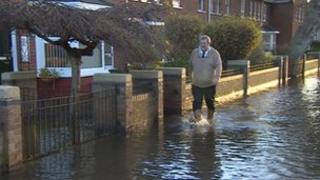 Man walking in water