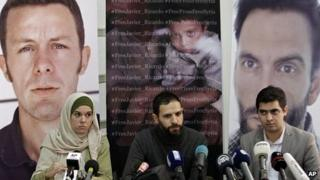 News conference in Beirut for kidnapped Spanish journalists. 10 Dec 2013