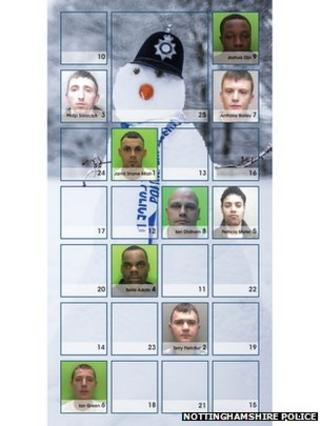 Nottinghamshire Police's Festive Crime calendar