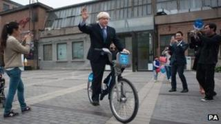 Mayor Boris Johnson on a Barclays Cycle Hire bike