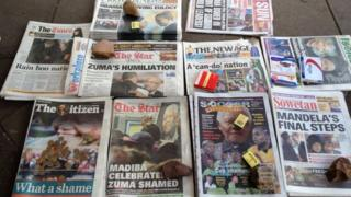 South African newspaper headlines on Wednesday 11 December 2013