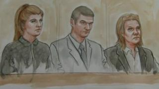 Court sketch of Kathryn Smith, Sean Booth, Anita Cregan