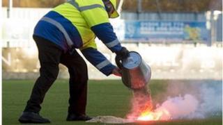 flare damage to Westfield Stadium