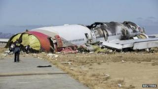 US National Transportation Safety Board (NTSB) photo shows the wreckage of Asiana Airlines Flight 214 that crashed at San Francisco International Airport in San Francisco, California in this handout file photo released on 7 July 2013