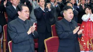 File photo: Chang Song-thaek, left, with North Korean leader Kim Jong-un in Pyongyang in a file picture taken by North Korea's official Korean Central News Agency (KCNA) on 15 April 2013