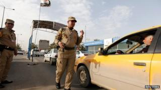 Security checkpoint in Baghdad on 13 December 2013