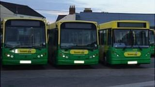 Guernsey buses in the depot