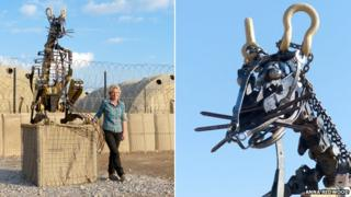 Anna Redwood with her desert rat sculpture