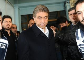 Police escort Mustafa Demir, mayor of Istanbul's Fatih district, after his arrest, 18 December