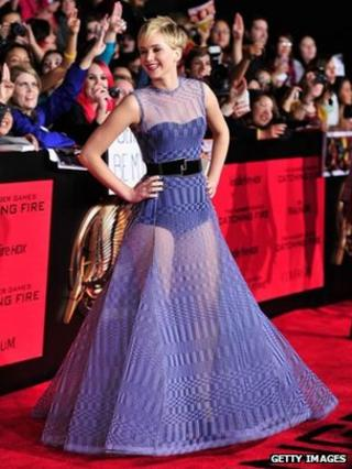 Jennifer Lawrence on the red carpet for the LA premiere of The Hunger Games; Catching Fire