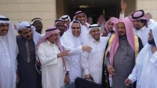 Saudi human rights activists gather outside the Criminal Court of Riyadh following a hearing in the trial of fellow activists Abdullah al-Hamid and Mohammed al-Qahtani. Sulaiman al-Rashoodi (second from right), Mohammed al-Qahtani (third from right), Waleed Abu al-Khair (center, fourth from right) and Abdullah al-Hamid (fifth from right)