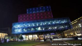 Birmingham Library in Aston Villa colours