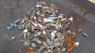 Cutlery found in sewer
