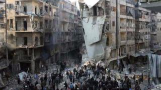 Citizen journalism image from Aleppo Media Centre of damage from barrel bombs