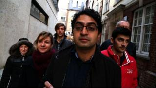 Some of the BBC Trending team lined up behind presenter Mukul Devichand for this piece about fake followers