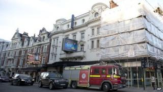 A fire engine outside London's Apollo Theatre