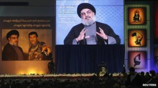 Hassan Nasrallah in a televised tribute to Hassan Lakkis (20 December 2013)