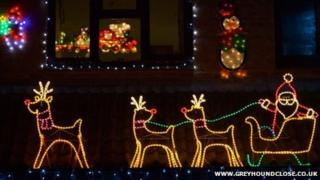 Christmas lights display in Greyhound Close