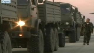 Russian military lorries arrive at Latakia's airport (23 December 2013)