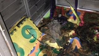 the fire-damaged play house