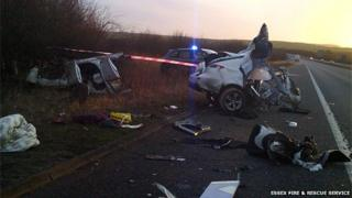 Scene of car crash on M11