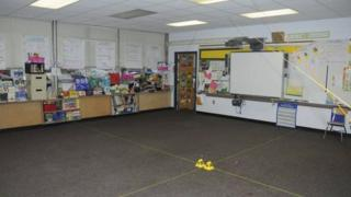 Classroom at Sandy Hook Elementary after the shooting, released by Connecticut police (27 December 2013)