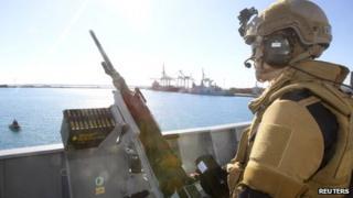 Crew member of the Norwegian frigate in Limassol (14 December 2013)