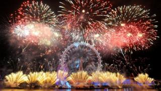 Fireworks at the London Eye