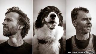 Neil Taylor, Jim Plunkett-Cole and dog Alfie