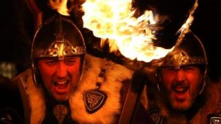 Up Helly Aa Vikings at the start of the parade