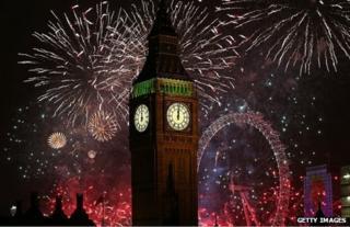 Fireworks explode over Westminster